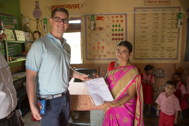 Gavin with woman in India